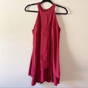 Francesca's Tank Crochet Tunic Top U4